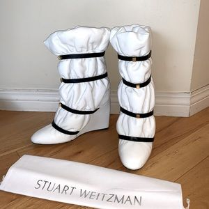 Stuart Weitzman white leather boots
